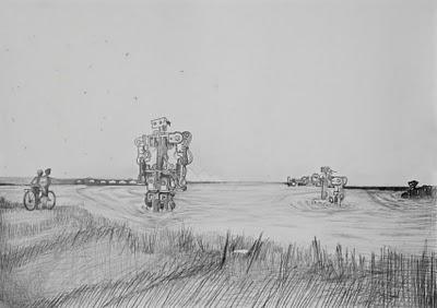 Robotok; ceruzarajz papíron, 70x50 cm