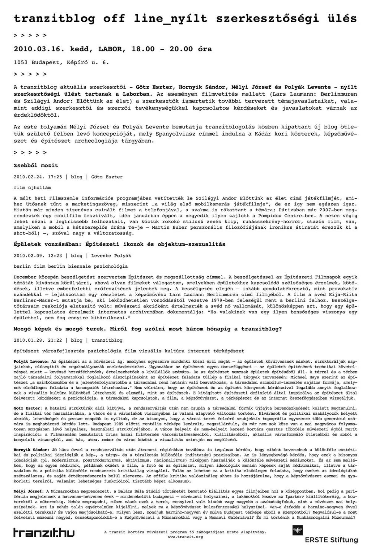 tranzitblog offline 2010